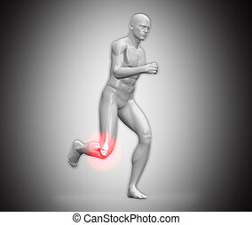 Grey human figure running with highlighted ankle