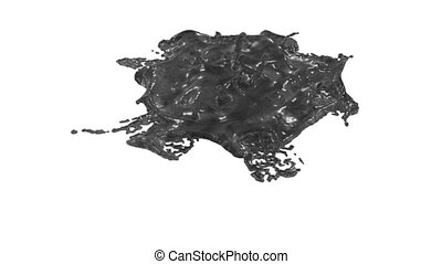 grey ink droplet falls on the white surface. 3d render...