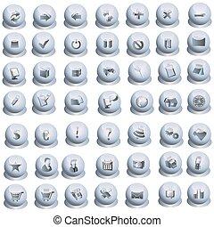 Grey interface icons set