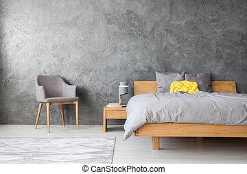Grey interior of bedroom
