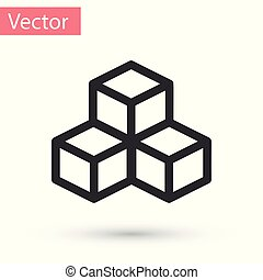 Grey Isometric cube icon isolated on white background. Geometric cubes solid icon. 3D square sign. Box symbol. Vector Illustration