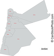 Contour jordan map Map of administrative divisions of eps vector