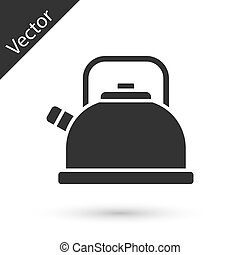 Grey Kettle with handle icon isolated on white background. Teapot icon.  Vector