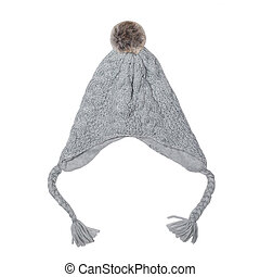Grey knitted hat isolated on a white background