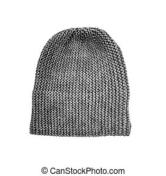 Grey knitted hat isolated on white background