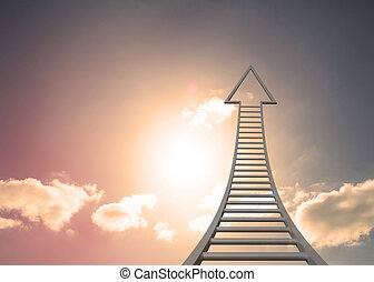 Grey ladder arrow pointing up against sky