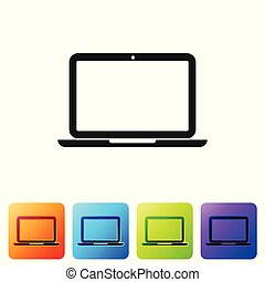 Grey Laptop icon isolated on white background. Computer notebook with empty screen sign. Set icon in color square buttons. Vector Illustration