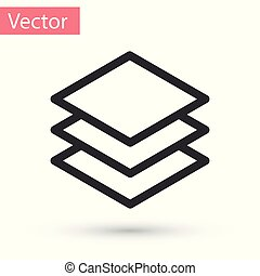 Grey Layers icon isolated on white background. Vector Illustration