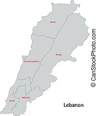 Grey map of lebanon clipart vector Search Illustration Drawings