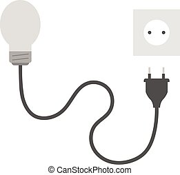 Grey light bulb with plug and outlet