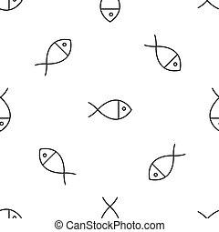 Grey line Christian fish symbol icon isolated seamless pattern on white background. Jesus fish symbol. Vector Illustration
