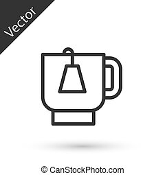 Grey line Cup of tea with tea bag icon isolated on white background. Vector