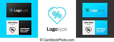 Grey line Discount percent tag in heart icon isolated on white background. Shopping tag sign. Special offer sign. Discount coupons symbol. Vector Illustration