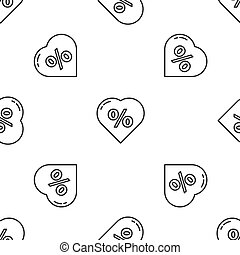 Grey line Discount percent tag in heart icon isolated seamless pattern on white background. Shopping tag sign. Special offer sign. Discount coupons symbol. Vector Illustration