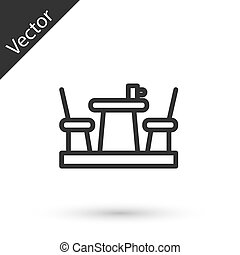 Grey line French cafe icon isolated on white background. Street cafe. Table and chairs. Vector