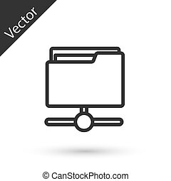 Grey line FTP folder icon isolated on white background. Software update, transfer protocol, router, teamwork tool management, copy process, info. Vector