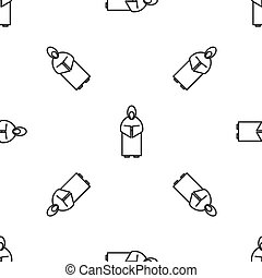 Grey line Monk icon isolated seamless pattern on white background. Vector Illustration
