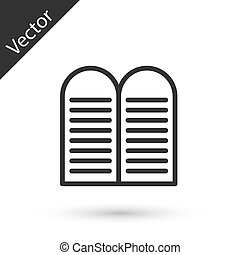 Grey line The commandments icon isolated on white background. Gods law concept. Vector