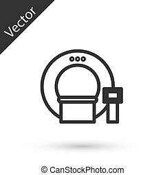 Grey line Tomography icon isolated on white background. Medical scanner, radiation. Diagnosis, radiology, magnetic resonance therapy. Vector Illustration