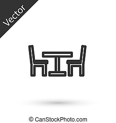 Grey line Wooden table with chair icon isolated on white background. Street cafe. Vector