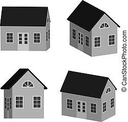 Grey little house in 3D