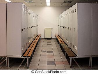 Grey locker rooms in a change room