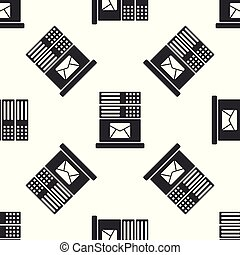 Grey Mail server icon isolated seamless pattern on white background. Vector Illustration