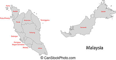 Grey Malaysia map - Map of administrative divisions of...