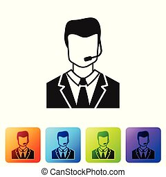 Grey Man with a headset icon isolated on white background. Support operator in touch. Concept for call center, client support service. Set icon in color square buttons. Vector Illustration