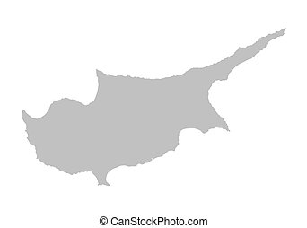 grey map of Cyprus