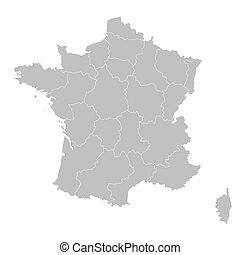grey map of france all regions on separate layers