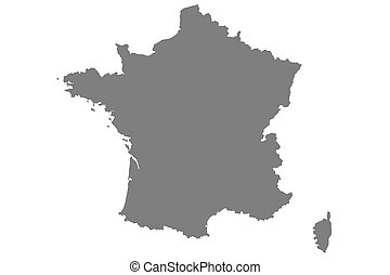Grey map of France with isolated on white background