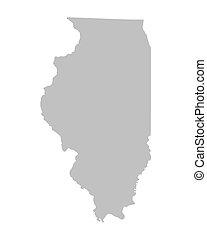 Grey map of Illinois