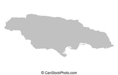 grey map of Jamaica