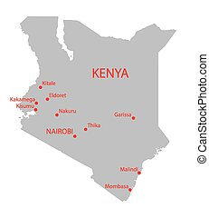 grey map of Kenya with indication of largets cities