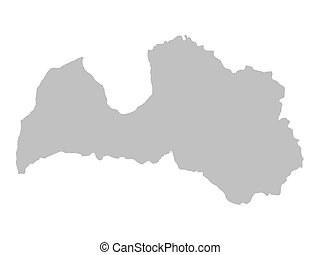 grey map of Latvia