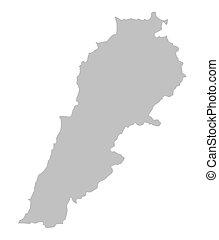 grey map of Lebanon