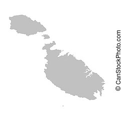 grey map of Malta