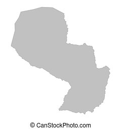 grey map of Paraguay
