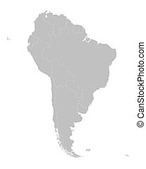 grey map of South America with countries borders