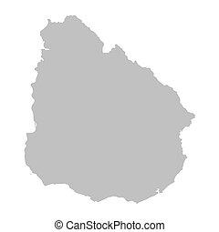 grey map of Uruguay