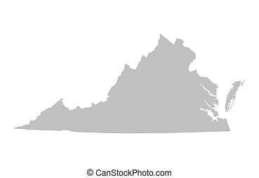 grey map of Virginia - Grey map of Virginia