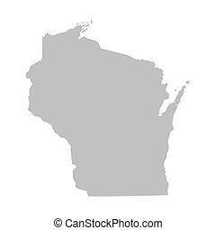 grey map of Wisconsin