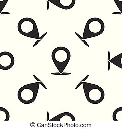 Grey Map pin icon isolated seamless pattern on white background. Pointer symbol. Location sign. Navigation map, gps, direction, place, compass, contact, search concept. Vector Illustration