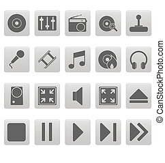 Grey media icons on gray squares