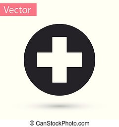 Grey Medical cross in circle icon isolated on white background. First aid medical symbol. Vector Illustration