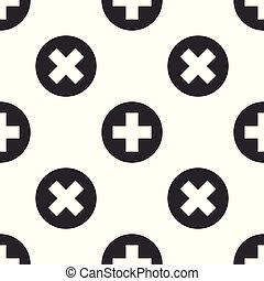Grey Medical cross in circle icon isolated seamless pattern on white background. First aid medical symbol. Vector Illustration