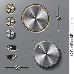 Grey metal buttons and dials set.