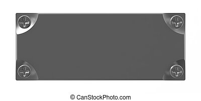 grey metallic tablet is bound screw-bolts on a white background