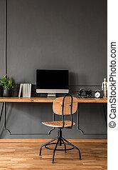 Grey minimal workspace interior